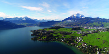picturesque panorama of Lake Lucerne in Switzerland
