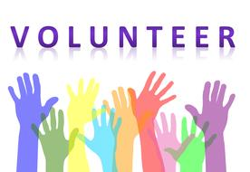 volunteer, banner with colorful hands