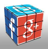 Rubik's cube with social media icons on sides