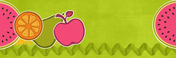children banner fruits healthy