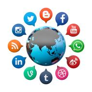 social media icons around globe, 3d render
