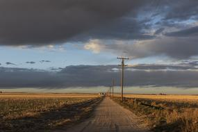 telephone line along soil road at Sunset in Countryside, usa, colorado
