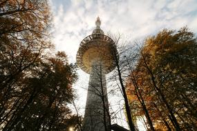 tv tower in park at fall, low angle view