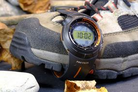 sports watch on boot