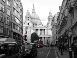 St Paul's Cathedral on street, uk, England, London
