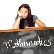 mathematics, young skeptic girl at blackboard