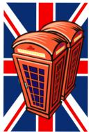 red phone booths at united kingdom flag, drawing