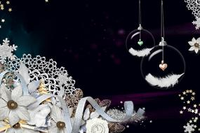white flowers and transparent balls for christmas decoration