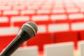 Microphone and red background