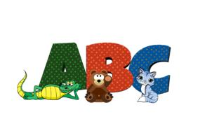 cartoon animals in front of a, b, c letters