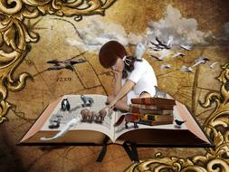 girl in imagining world of book
