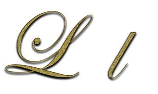 letter l gold font drawing