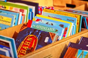 children's literature in wooden boxes