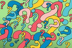 wallpaper with colorful question marks