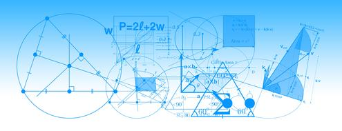 mathematics formula physics blue banner