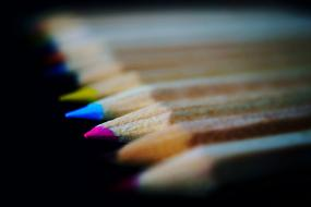 macro photo of school pencils