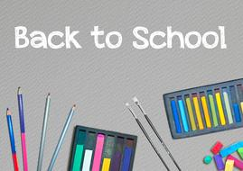 back to school, banner with school supplies