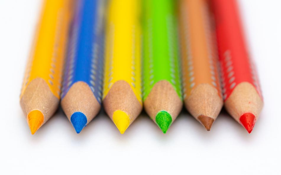 wood Pencils yellow blue orange green red