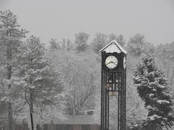 winter photo of a school head with a clock and a bell