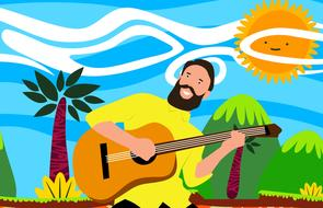 drawn guitar player on tropical nature background