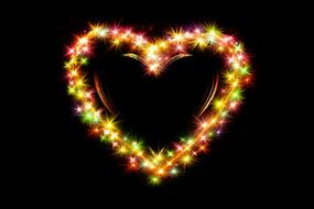 heart composed with colorful lights at darkness, valentine's day