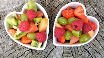 fruit salad in a heart-shaped plates