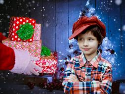 the boy received gifts from Santa Claus