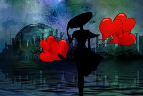 drawn silhouette of a girl in a black hat with red hearts on a background of the metropolis