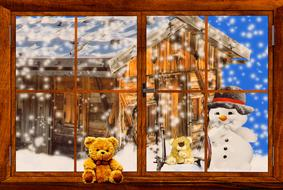 a teddy bear on the windowsill and a snowman outside the window