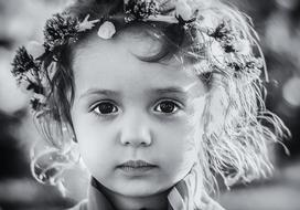 black and white photo portrait of a little girl