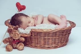 baby sleeps in a wicker basket on a white background