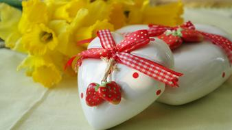 Heart Love Gift and yellow flowers