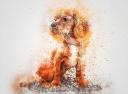 watercolor painted spaniel puppy