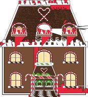 gingerbread house, christmas drawing