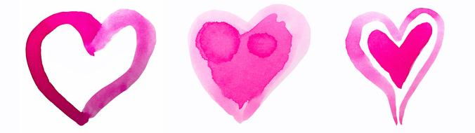 Heart Watercolor pink drawing