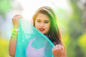cute girl with turquoise scarf