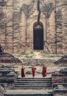 small Buddhist monks in Burma