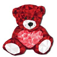 geometric image of a red teddy bear
