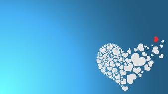 blue background with white hearts