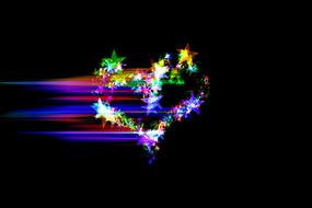 heart made of colorful stars on a black background