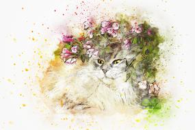 watercolor drawing of a cat