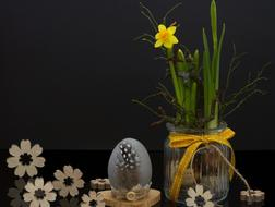 Easter Egg and yellow Flower
