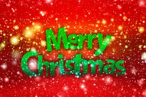 clipart of the merry christmas sign green greeting at red background