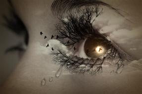 mystical portrait of crying woman's eye