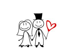 newlyweds, funny drawing
