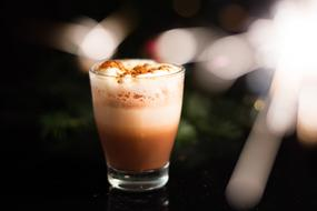 Christmas photo of hot chocolate in a transparent glass