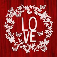 love sign red wooden