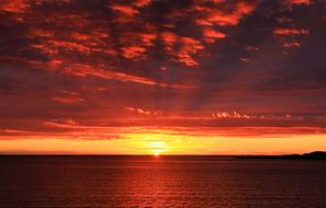 red orange sea Sunset