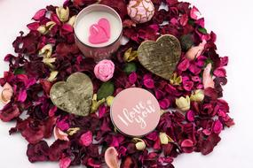 Beautiful and colorful petals and other decorations Valentine's Day