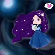painted princess in a blue dress on a galaxy background